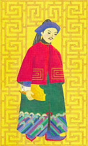 Chinese Man with Fan - Hand Painted Needlepoint Canvas from dede's Needleworks