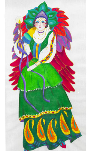 Harlequin Angel 1 - Hand Painted Needlepoint Canvas from dede's Needleworks