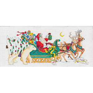 Santa's Coming to Town - Hand Painted Glitter Needlepoint Canvas from dede's Needleworks