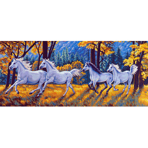 Margot Creations de Paris Needlepoint - Tapestries - Les Chevaux Blancs (The White Horses) Tapestry Canvas