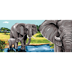 Margot Creations de Paris Needlepoint - Tapestries - Le Lac aux Elephants (Elephant Lake) Tapestry Canvas