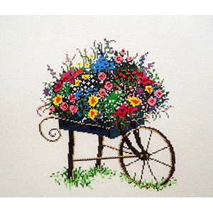 Cart - Stitch Painted Needlepoint Canvas from Sandra Gilmore