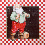 Santa SB2 - Stitch Painted Needlepoint Canvas from Sandra Gilmore