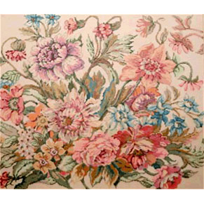 Floral Symphony - Stitch Painted Needlepoint Canvas