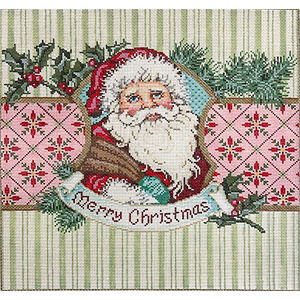 Sweet Santa - Stitch Painted Needlepoint Canvas