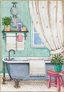 Bathe - Stitch Painted Needlepoint Canvas
