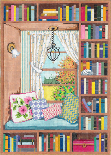 Window Seat - Stitch Painted Needlepoint Canvas