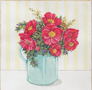 Poppies - Stitch Painted Needlepoint Canvas from Sandra Gilmore