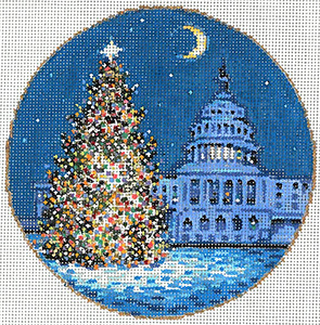 DC Tree - Stitch Painted Needlepoint Canvas