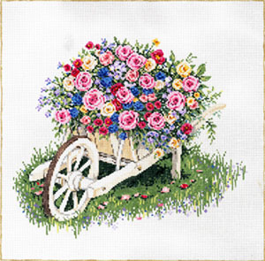 Bevy of Blooms - Stitch Painted Needlepoint Canvas