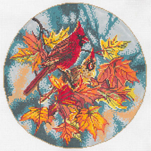 Cardinals - Stitch Painted Needlepoint Canvas from Sandra Gilmore