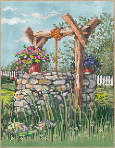 Wishing Well - Stitch Painted Needlepoint Canvas