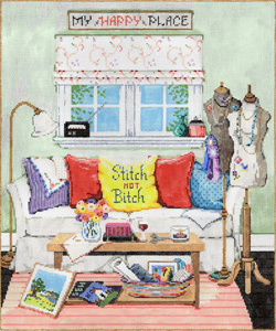 My Happy Place - Stitch Painted Needlepoint Canvas from Sandra Gilmore