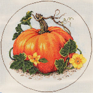 Squash Blossoms - Stitch Painted Needlepoint Canvas from Sandra Gilmore