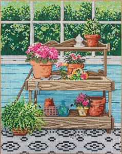 Potting Place - Stitch Painted Needlepoint Canvas from Sandra Gilmore