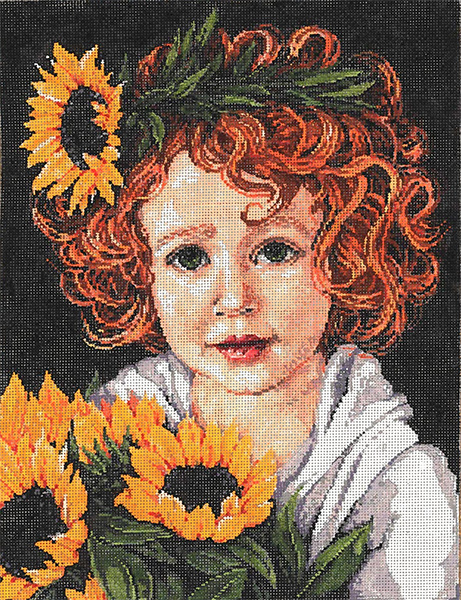 Sunny - Stitch Painted Needlepoint Canvas from Sandra Gilmore