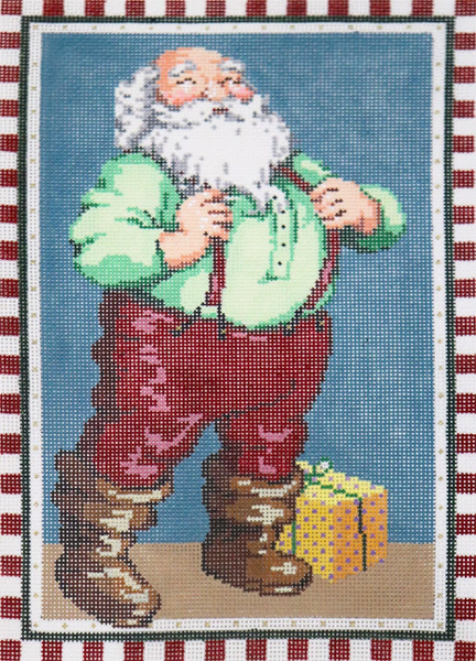Checked Santa - Stitch Painted Needlepoint Canvas from Sandra Gilmore