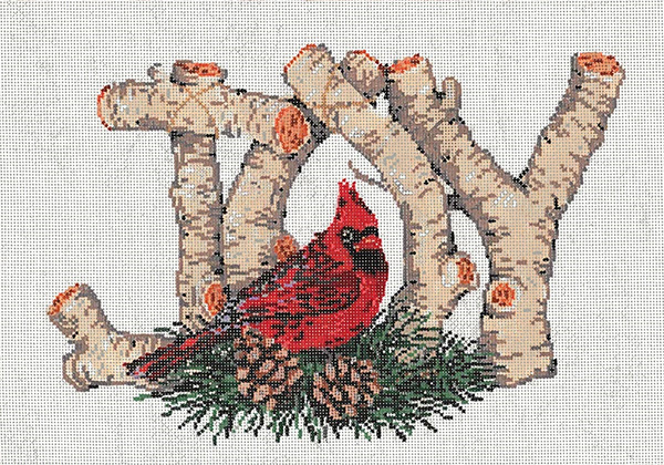 Birch Joy - Stitch Painted Needlepoint Canvas from Sandra Gilmore