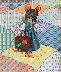 Lil Traveler - Stitch Painted Needlepoint Canvas from Sandra Gilmore