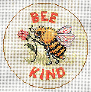 Bee Kind - Stitch Painted Needlepoint Canvas from Sandra Gilmore