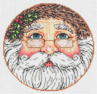Santa Round - Stitch Painted Needlepoint Canvas from Sandra Gilmore