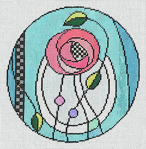 Rennie Rose - Stitch Painted Needlepoint Canvas from Sandra Gilmore