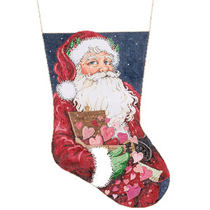 All the Love - Stitch Painted Needlepoint Christmas Stocking Canvas