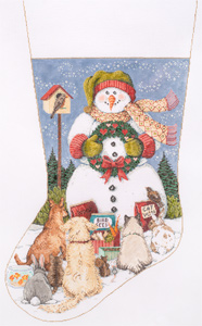 Snow Gathering - Stitch Painted Needlepoint Christmas Stocking Canvas
