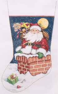 Snow Flurries - Stitch Painted Needlepoint Christmas Stocking Canvas