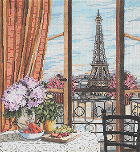 Vue d'Eiffel - Stitch Painted Needlepoint Canvas from Sandra Gilmore