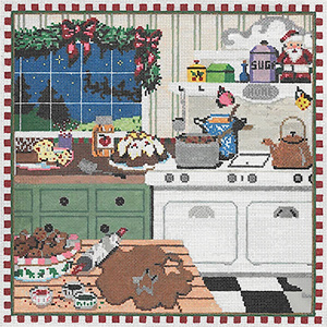 Christmas Kitchen - Stitch Painted Needlepoint Canvas from Sandra Gilmore