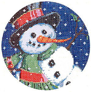 Frosty - Stitch Painted Needlepoint Canvas from Sandra Gilmore