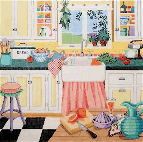 Grandma's Kitchen - Stitch Painted Needlepoint Canvas by Sandra Gilmore