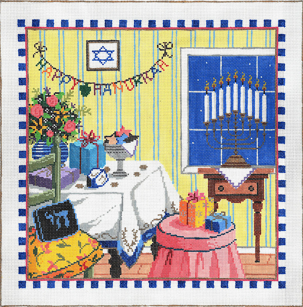 Happy Hanukkah - Stitch Painted Needlepoint Canvas from Sandra Gilmore