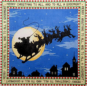 Merry Christmas - Stitch Painted Needlepoint Canvas from Sandra Gilmore