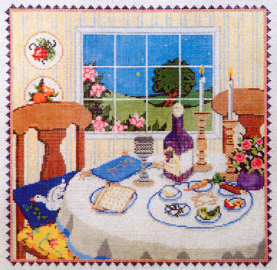 Seder - Stitch Painted Needlepoint Canvas from Sandra Gilmore