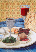 Passover - Stitch Painted Needlepoint Canvas from Sandra Gilmore
