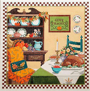 Give Thanks - Stitch Painted Needlepoint Canvas from Sandra Gilmore