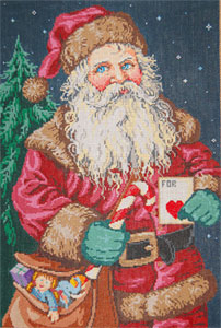 St. Nick - Stitch Painted Needlepoint Canvas from Sandra Gilmore