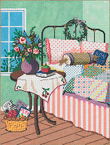 Bon Nuit - Stitch Painted Needlepoint Canvas from Sandra Gilmore