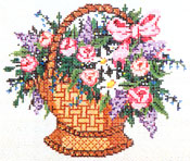 Basket 1 - Stitch Painted Needlepoint Canvas from Sandra Gilmore