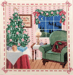 Victorian Christmas - Stitch Painted Needlepoint Canvas from Sandra Gilmore