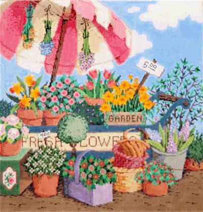 Fresh Flowers - Stitch Painted Needlepoint Canvas