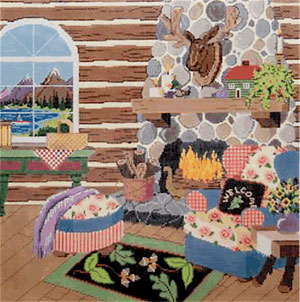 At the Lake - Stitch Painted Needlepoint Canvas from Sandra Gilmore