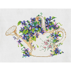 Flower Can - Stitch Painted Needlepoint Canvas from Sandra Gilmore