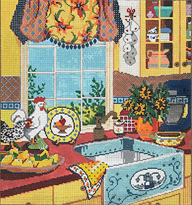 La Cuisine - Stitch Painted Needlepoint Canvas from Sandra Gilmore