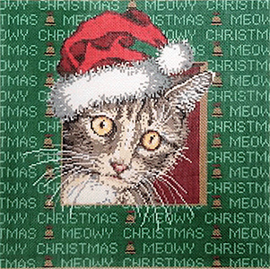 Meow - Stitch Painted Needlepoint Canvas from Sandra Gilmore