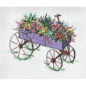 Cart IV - Stitch Painted Needlepoint Canvas from Sandra Gilmore