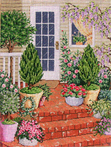 Wisteria - Stitch Painted Needlepoint Canvas