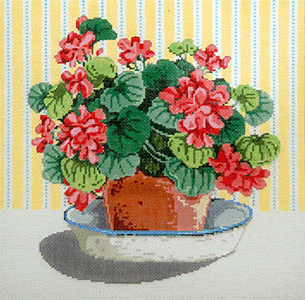 Geraniums - Stitch Painted Needlepoint Canvas from Sandra Gilmore